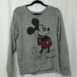 H&M Heathered Grey Mickey Mouse Pullover Sweater